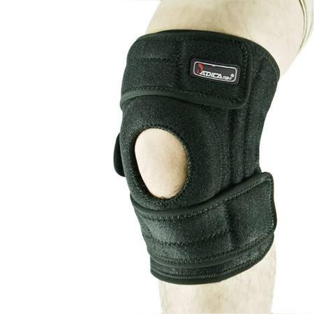 badica护膝骑行登山篮球护膝开孔可调护具运动护膝加强弹簧滴胶 均码 黑色单只装 BT6605