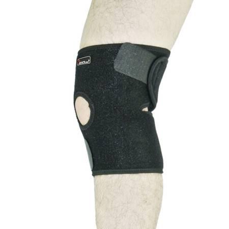 badica护膝户外二条带开放式开孔护膝运动篮球网球跑步骑行登山护具 均码 黑色单只装 BT6603