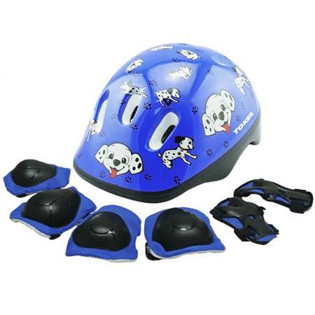 TOKER儿童轮滑护具儿童头盔套装7件套自行车滑板溜冰旱冰滑冰护膝 wal+6件套