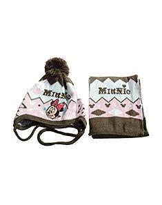 正版迪士尼儿童冬季护耳帽子围巾两件套组合 时尚保暖护耳款