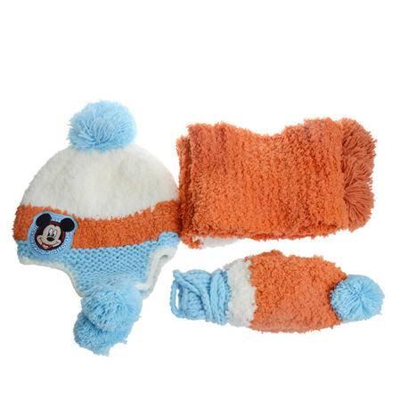 正版迪士尼女童冬季保暖帽子围巾手套三件套组合 大气出行小孩保暖帽