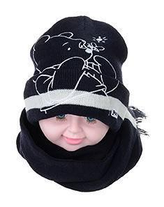正版迪士尼男童女童卡通可爱维尼熊帽子围巾套件 小孩保暖冬季帽子