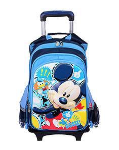 正版迪士尼卡通米奇米妮拉杆书包 新款凹凸立体画面 3轮可脱卸可爬坡两用书包