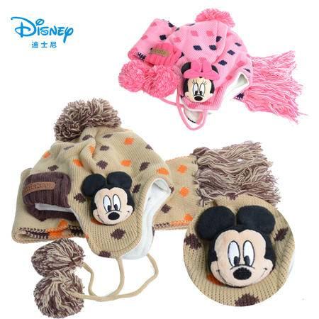 新品迪士尼男童卡通玩偶护耳冬季帽子围巾两件套 男孩冬季护耳帽子