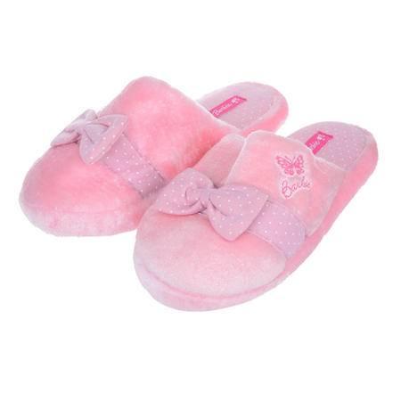 正版芭比 假一罚十 女童可爱冬季保暖时尚棉拖鞋 居家拖鞋均码