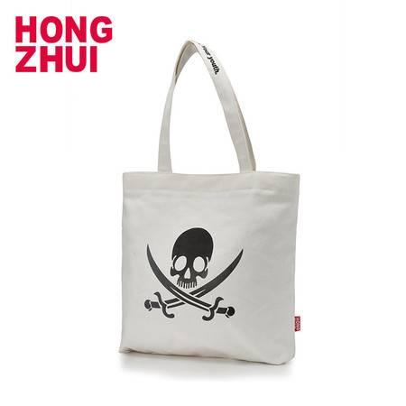 红缀 原创时尚韩版竖款帆布潮流手提袋