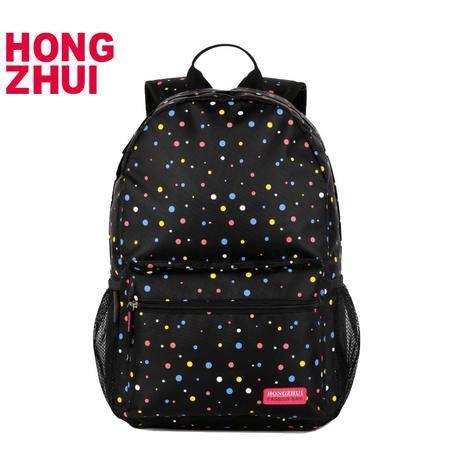 红缀双肩包日韩版时尚潮流中学生可爱波点书包秋冬季学院风休闲旅行包