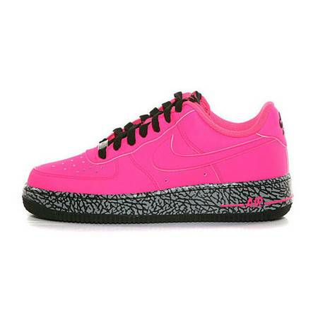 正品耐克女鞋 AIR FORCE 1 GS 爆裂纹 骚粉 女子板鞋 596728-608