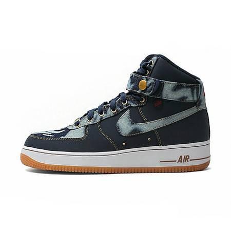正品耐克男鞋 AIR FORCE 1 High Denim 丹宁 男子板鞋 631039-400