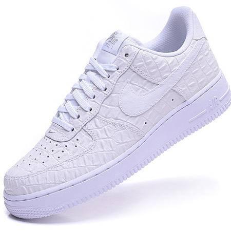 正品耐克男鞋AF1空军板鞋男子纯白色鳄鱼纹复古休闲运动鞋情侣鞋