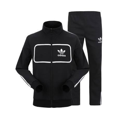 阿迪达斯三叶草运动服男套装两件套修身长袖纯棉休闲薄款立领卫衣