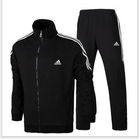 阿迪达斯运动服套装男士新款三叶草卫衣纯棉开衫立领休闲外套直筒长裤两件套