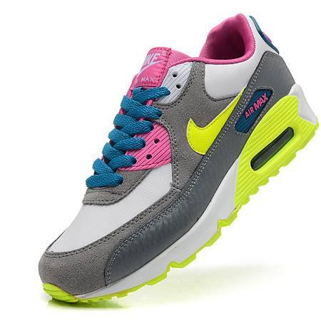 耐克新款Nike Air max 90气垫跑鞋 荧光炫彩女鞋 休闲透气网面厚底增高运动鞋