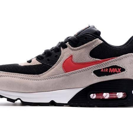 耐克NIKE MAX90灰黑红 男女鞋跑步鞋 休闲鞋透气网面厚底增高气垫运动鞋情侣鞋