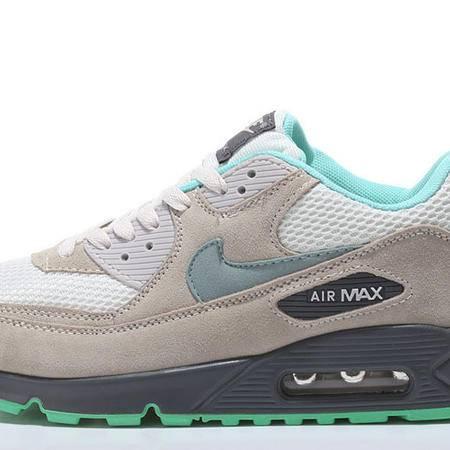 耐克NIKE MAX90灰绿男鞋跑步鞋 韩版休闲鞋透气网面厚底增高气垫运动鞋