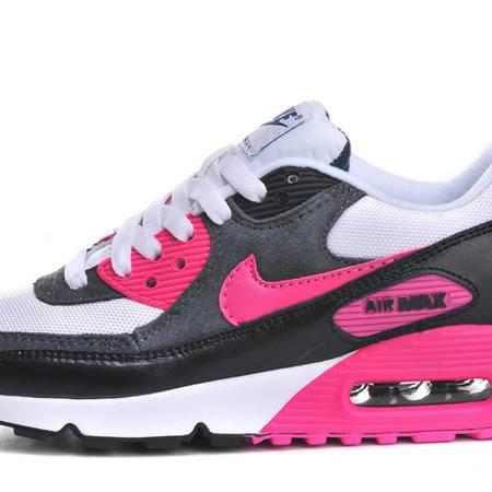 耐克Nike AIR MAX90白灰桃红女鞋时尚跑步透气网面增高鞋女子复古运动休闲鞋