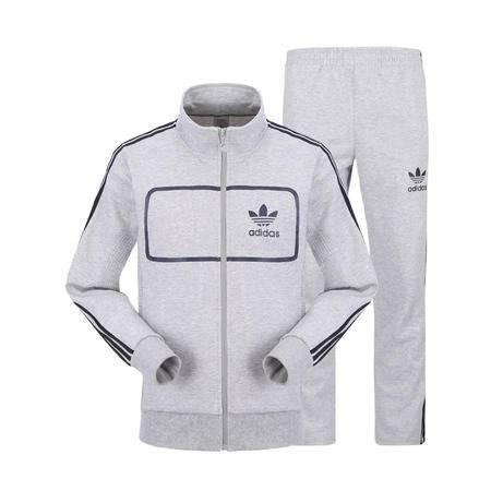 阿迪达斯新款男士运动套装休闲套装男立领两件套长袖休闲卫衣三叶草运动服