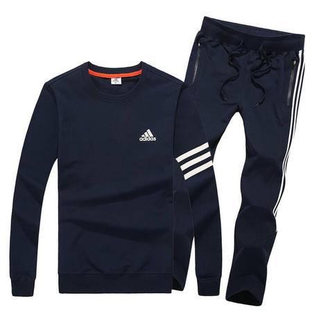 阿迪达斯运动服休闲套装男 青年学生长袖圆领套头衫纯棉运动卫衣长裤两件套