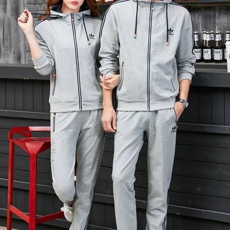 阿迪达斯运动服套装男女长袖情侣运动装卫衣开衫连帽运动休闲长裤两件套