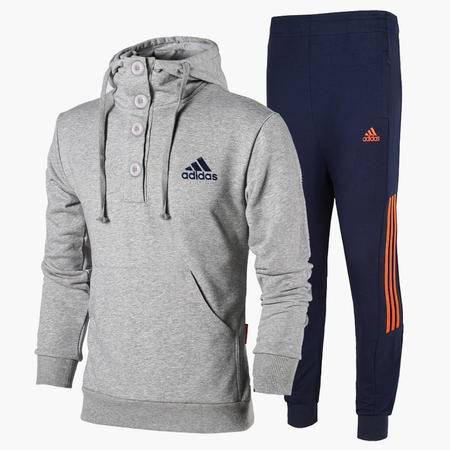 新款阿迪达斯运动服套装男士纯棉套头连帽长袖卫衣休闲收口裤两件套