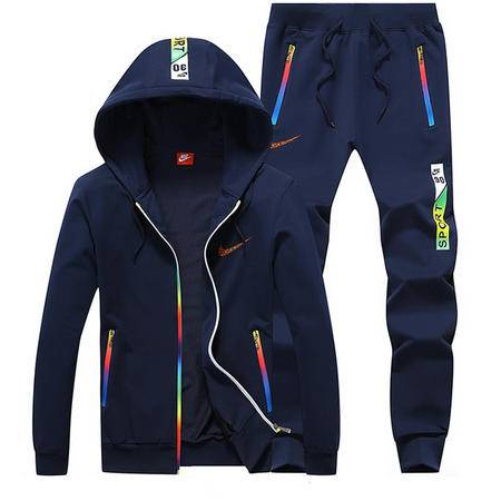 NIKE新款耐克男士运动服套装休闲修身纯棉长袖开衫连帽卫衣外套修身长裤两件套