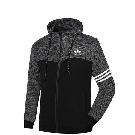 Adidas阿迪达斯 三叶草 新款运动服连帽长袖夹克开衫外套 休闲男子卫衣上衣