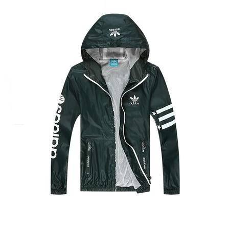 adidas 阿迪达斯 三叶草 男士运动服夹克外套薄款休闲连帽风衣上衣
