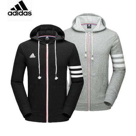 Adidas 阿迪达斯 男子运动服三条纹长袖连帽夹克开衫休闲卫衣外套上衣