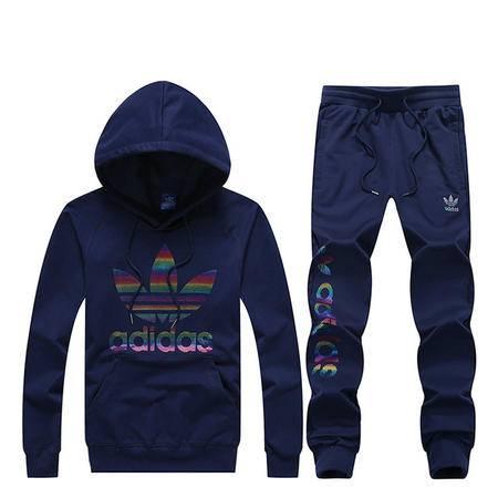 阿迪达斯 三叶草 运动服套装连帽套头长袖卫衣运动长裤卫裤两件套