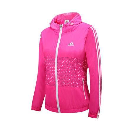 adidas 阿迪达斯 波点新款女子长袖开衫连帽夹克外套防风衣运动服上衣