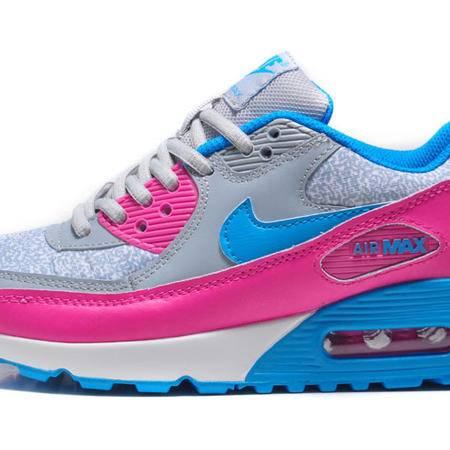 耐克女鞋 NIKE AIR MAX90 灰蓝粉女子气垫厚底增高跑步鞋透气网面运动鞋