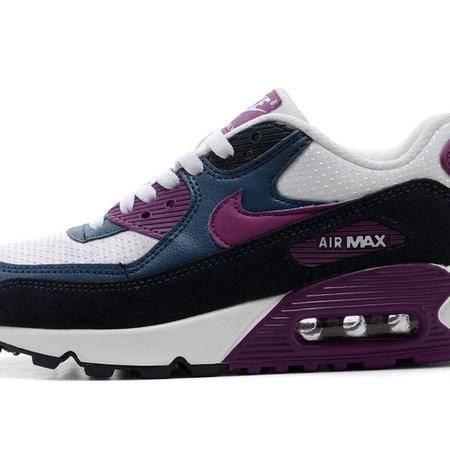 耐克女鞋 NIKE AIR MAX90 黑紫女子气垫厚底增高跑步鞋透气网面运动鞋