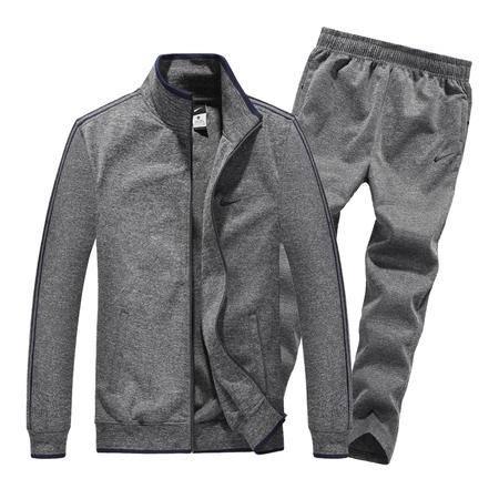 NIKE耐克  新款男士长袖开衫运动服套装纯棉纯色休闲直筒长裤两件套