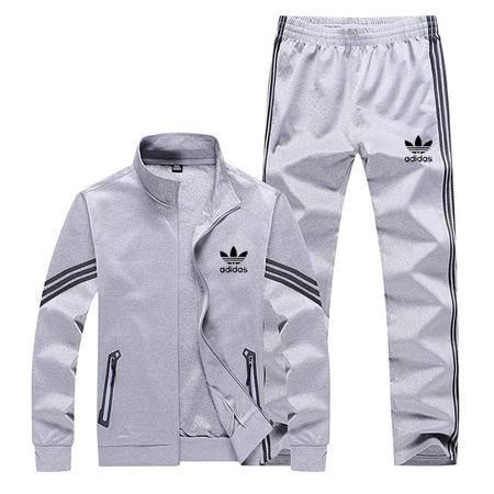 阿迪达斯 三叶草 男士卫衣立领开衫长袖卫衣外套休闲运动服套装直筒长裤两件套