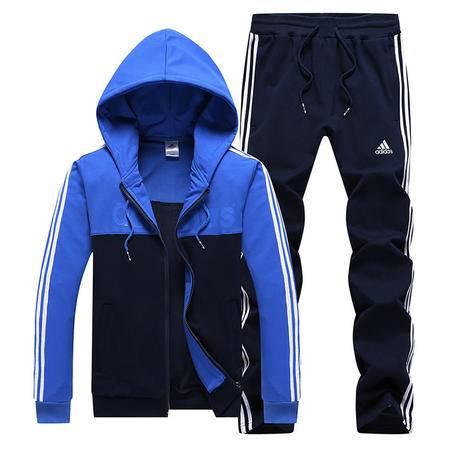 阿迪达斯 三叶草 运动服套装男士大码卫衣套装长袖连帽外套直筒长裤两件套
