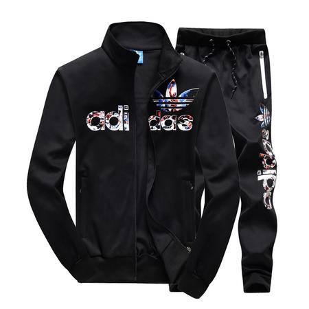 阿迪达斯三叶草印花青少年运动服套装学生休闲男士开衫立领卫衣外套长裤两件套
