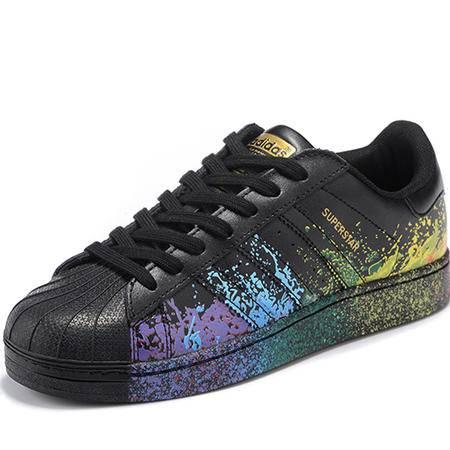 阿迪达斯Adidas SUPERSTAR PRIDE 三叶草 贝壳头男女板鞋彩虹泼墨休闲运动情侣鞋
