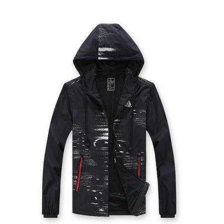adidas阿迪达斯新款运动服外套男士防风衣长袖开衫夹克连帽大码休闲上衣
