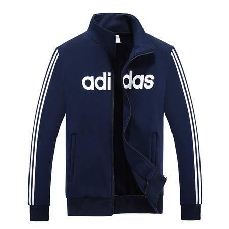 Adidas阿迪达斯卫男士运动服休闲长袖开衫立领夹克卫衣外套加绒加厚修身上衣