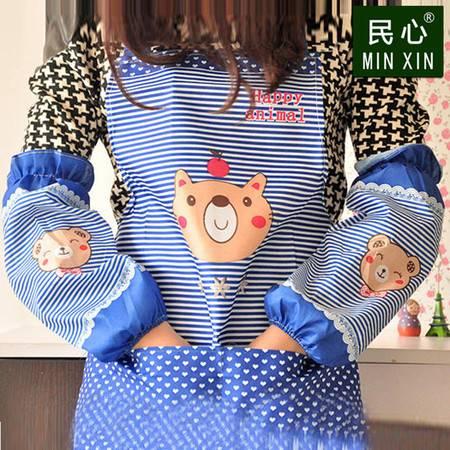 包邮 韩版厨房防油卡通长套袖防水男女罩衣 套装 围裙+袖套一套