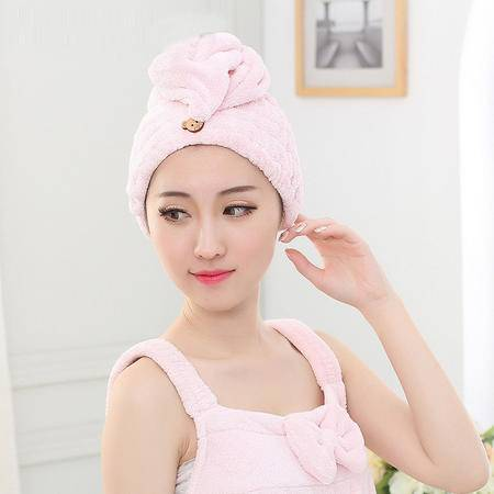 外贸出口日本韩国珊瑚绒干发帽超强吸水蝴蝶结干发巾成人儿童毛巾