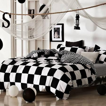 民心 2016新款 全棉经典黑白条纹格子套件 床上用品纯棉四件套