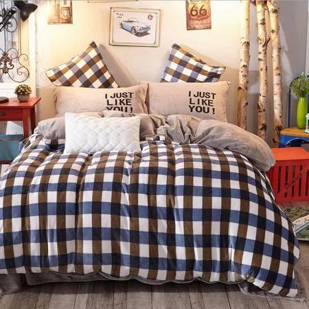 民心 时尚简约纯色法莱绒四件套 条纹格子加厚法兰绒套件床上用品家纺