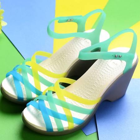 夏季新款坡跟女凉鞋洞洞鞋沙滩鞋中跟甜美果冻七彩鱼嘴凉鞋单鞋