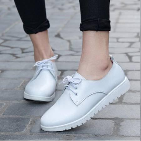 2016春夏新款韩版休闲鞋真皮平底小白鞋明星同款