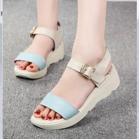 夏季时尚坡跟一字拖女鞋凉拖鞋女士沙滩鞋凉鞋