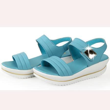 2016夏季新款简约通勤凉鞋中跟坡跟中后空金属女凉鞋