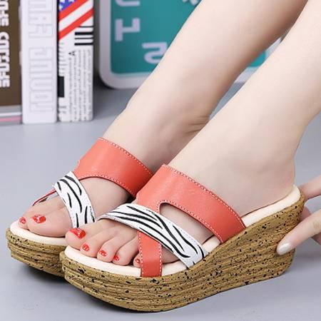 拖鞋新款凉拖一字坡跟凉拖女鞋时尚透气网纱防水台