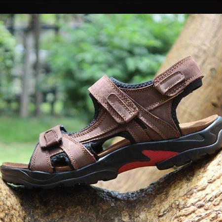 新款凉鞋男夏季新款洞洞鞋男士真皮沙滩鞋透气休闲皮凉