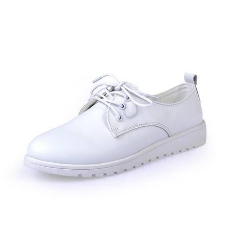 2016春季小白鞋真皮休闲女鞋英伦白色系带单鞋女皮鞋